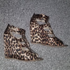 Shoes - Leopard Strapped Wedges